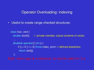Operator Overloading: indexing