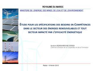 tude pour les sp cifications des besoins en Comp tences dans le secteur des  nergies renouvelables et tout secteur impa