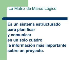 La Matriz de Marco L gico
