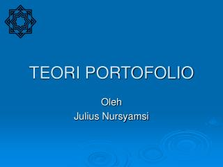 TEORI PORTOFOLIO