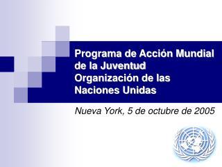 Programa de Acci n Mundial de la Juventud Organizaci n de las Naciones Unidas
