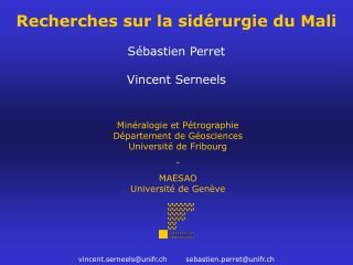 Recherches sur la sid rurgie du Mali  S bastien Perret   Vincent Serneels