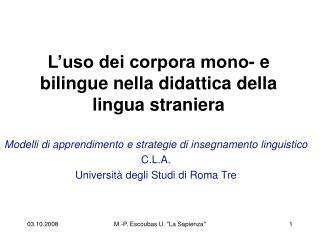 L uso dei corpora mono- e bilingue nella didattica della lingua straniera