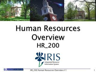 HR_200 Human Resources Overview v11