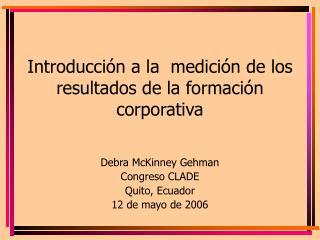 Introducci n a la  medici n de los resultados de la formaci n corporativa