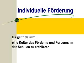 Individuelle F rderung