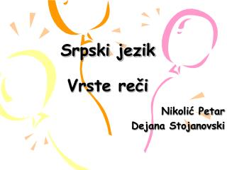 Srpski jezik  Vrste reci