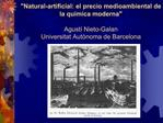 Natural-artificial: el precio medioambiental de la qu mica moderna   Agust  Nieto-Galan Universitat Aut noma de Barcelon