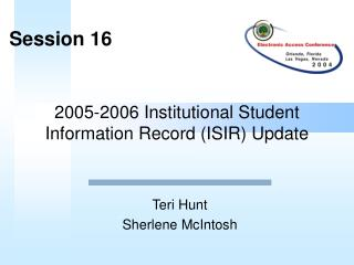2005-2006 Institutional Student Information Record ISIR Update