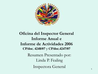 Oficina del Inspector General  Informe Anual e  Informe de Actividades 2006  CP