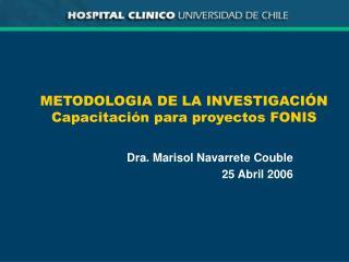 METODOLOGIA DE LA INVESTIGACI N Capacitaci n para proyectos FONIS