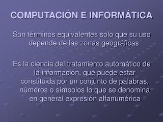 COMPUTACI N E INFORM TICA