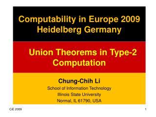 Computability in Europe 2009 Heidelberg Germany