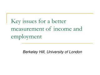 Key issues for a better measurement of income and employment