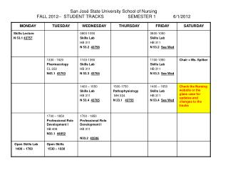 San Jos  State University School of Nursing FALL 2012--  STUDENT TRACKS  SEMESTER 1  6