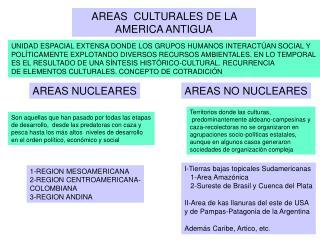 AREAS  CULTURALES DE LA AMERICA ANTIGUA