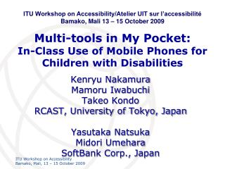 Multi-tools in My Pocket: In-Class Use of Mobile Phones for Children with Disabilities