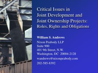 Critical Issues in  Joint Development and Joint Ownership Projects: Roles, Rights and Obligations