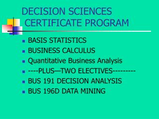 DECISION SCIENCES  CERTIFICATE PROGRAM