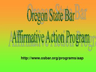 Oregon State Bar Affirmative Action Program