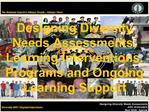 Designing Diversity Needs Assessments, Learning Interventions, Programs and Ongoing Learning Support