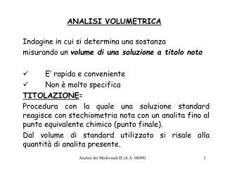 ANALISI VOLUMETRICA
