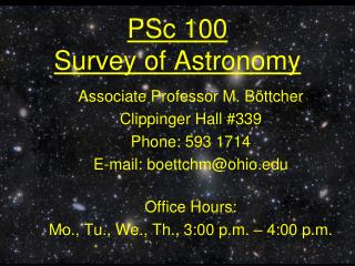 PSc 100 Survey of Astronomy
