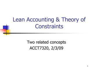 Lean Accounting  Theory of Constraints