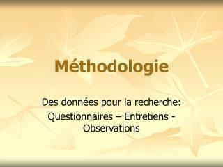 M thodologie