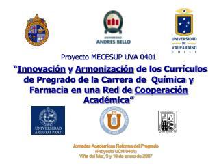 Proyecto MECESUP UVA 0401   Innovaci n y Armonizaci n de los Curr culos de Pregrado de la Carrera de  Qu mica y Farmacia
