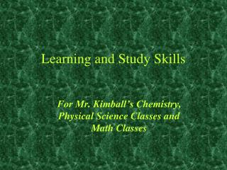 Learning and Study Skills