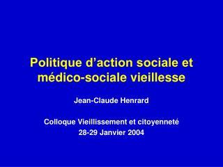 Politique d action sociale et m dico-sociale vieillesse