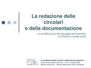 La redazione delle circolari e della documentazione