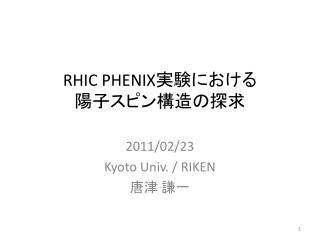 RHIC PHENIX