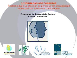 II JORNADAS ADI CANARIAS Trastorno dual: La atenci n de personas con discapacidad intelectual con trastornos conductuale