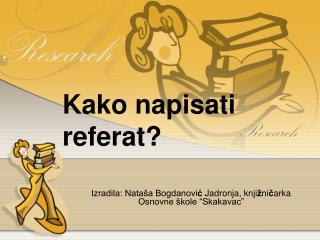 Kako napisati referat