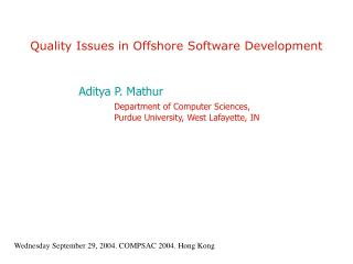 Quality Issues in Offshore Software Development