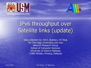 IPv6 throughput over  Satellite links update