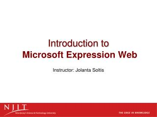 Introduction to   Microsoft Expression Web