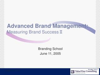 Advanced Brand Management: Measuring Brand Success