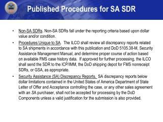 Published Procedures for SA SDR