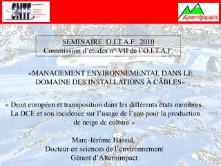 SEMINAIRE  O.I.T.A.F.  2010 Commission d  tudes n  VII de l O.I.T.A.F.