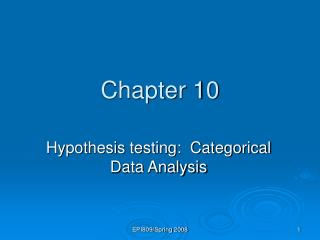 Hypothesis testing:  Categorical Data Analysis