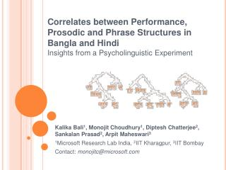 Correlates between Performance, Prosodic and Phrase Structures in Bangla and Hindi Insights from a Psycholinguistic Expe
