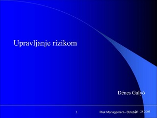 Risk Management  October 26 - 28 2005