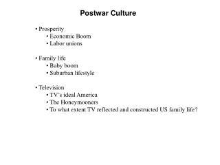 Postwar Culture