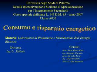 Universit  degli Studi di Palermo Scuola Interuniversitaria Siciliana di Specializzazione per l Insegnamento Secondario