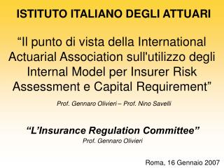 Il punto di vista della International Actuarial Association sullutilizzo degli Internal Model per Insurer Risk Assessme