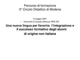 Percorso di formazione  3  Circolo Didattico di Modena