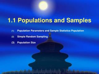 1.1 Populations and Samples